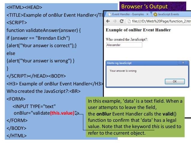 Javascript event handler