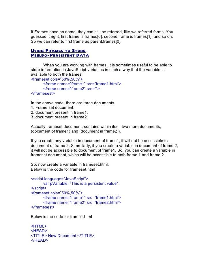 Java script frame window