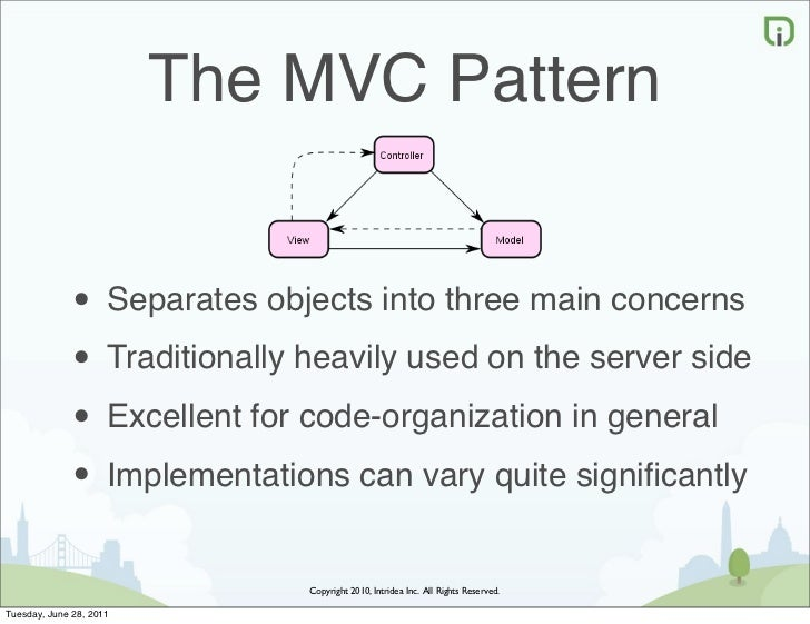 The MVC Pattern             • Separates objects into three main concerns             • Traditionally heavily used on the s...