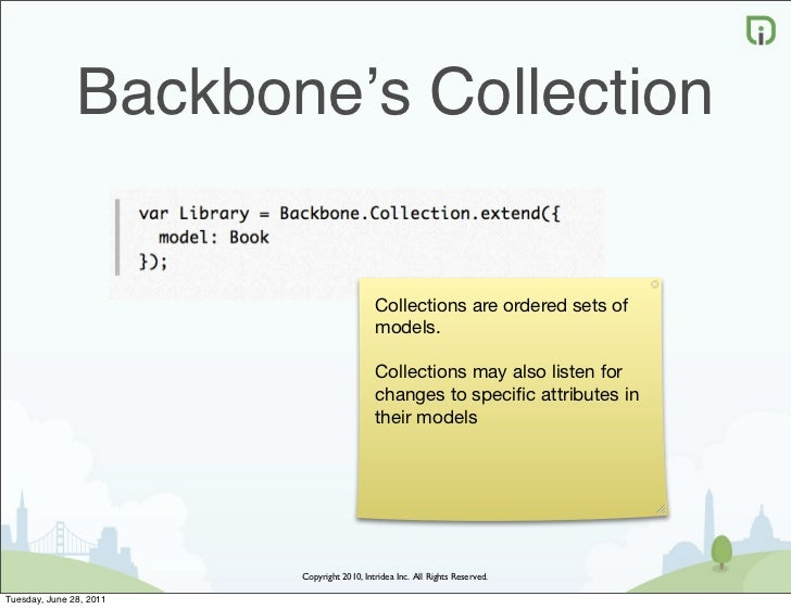 Backbone's Collection                                            Collections are ordered sets of                          ...