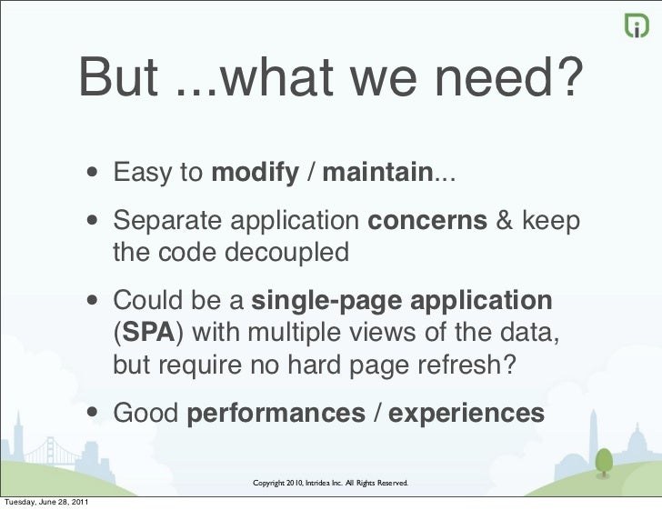 But ...what we need?                    • Easy to modify / maintain...                    • Separate application concerns ...