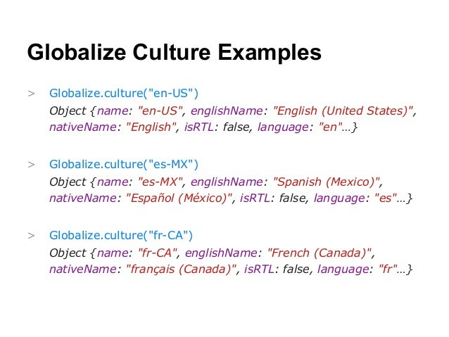 Sample code from going global with javascript and globalize. Js.