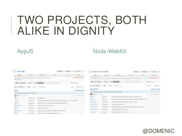 TWO PROJECTS, BOTHALIKE IN DIGNITYAppJS     Node-WebKit                        @DOMENIC