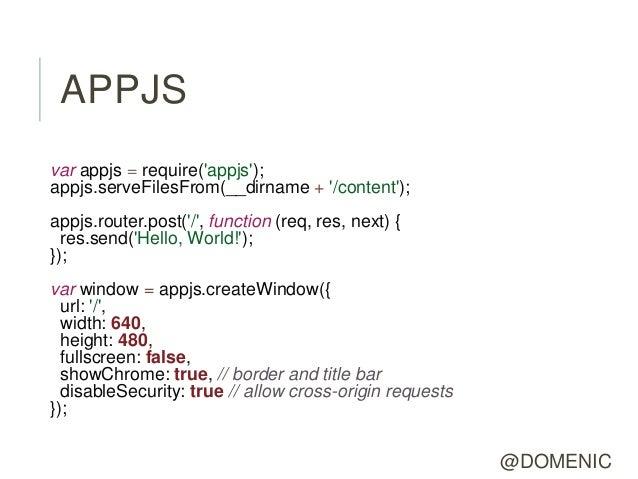 APPJSvar appjs = require(appjs);appjs.serveFilesFrom(__dirname + /content);appjs.router.post(/, function (req, res, next) ...