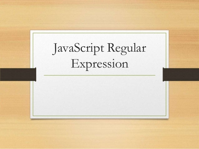 JavaScript Regular Expression