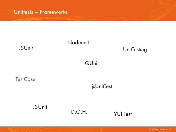 Unittests – Frameworks                     Nodeunit  JSUnit                                           UnitTesting         ...