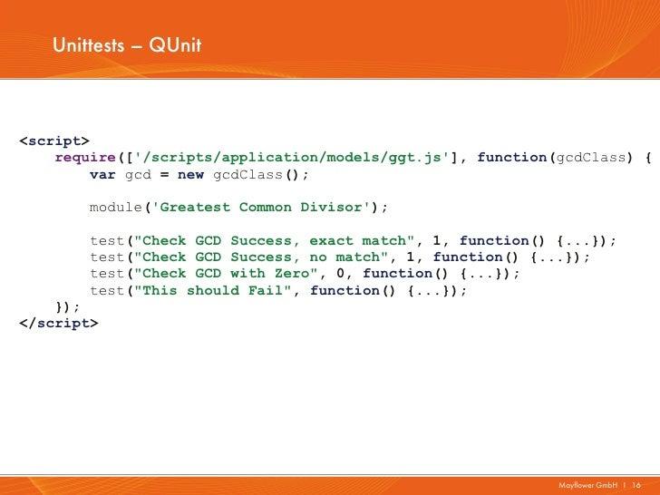 Unittests – QUnit<script>    require([/scripts/application/models/ggt.js], function(gcdClass) {         var gcd = new gcdC...