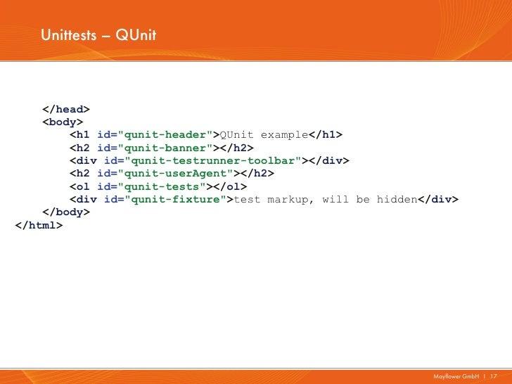 """Unittests – QUnit    </head>    <body>        <h1 id=""""qunit-header"""">QUnit example</h1>        <h2 id=""""qunit-banner""""></h2> ..."""