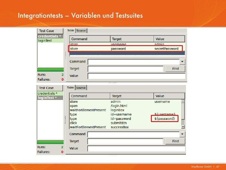 Integrationtests – Variablen und Testsuites                                              Mayflower GmbH I 47