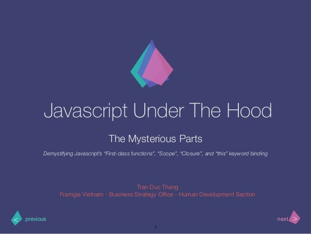 >< nextprevious Javascript Under The Hood The Mysterious Parts Tran Duc Thang Framgia Vietnam - Business Strategy Office - ...