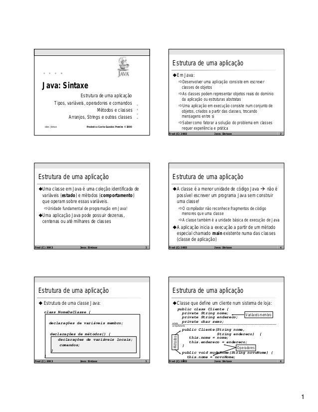 1 Frederico Costa Guedes Pereira © 2000 Java: Sintaxe Estrutura de uma aplicação Tipos, variáveis, operadores e comandos M...