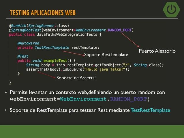 TESTING MVC @WebMvcTest autoconfigura la infraestructura para SpringMVC y se limita a escanear los siguientes beans. • @Con...