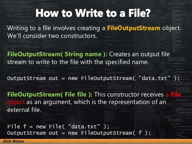 How to write to a file in java using FileOutputStream