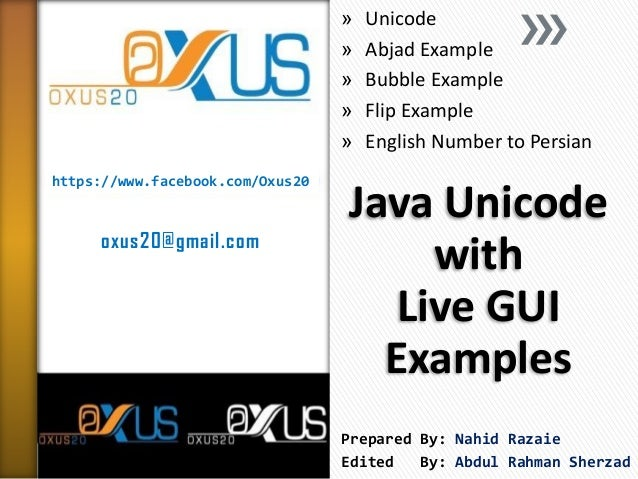 Java Unicode with Live GUI Examples