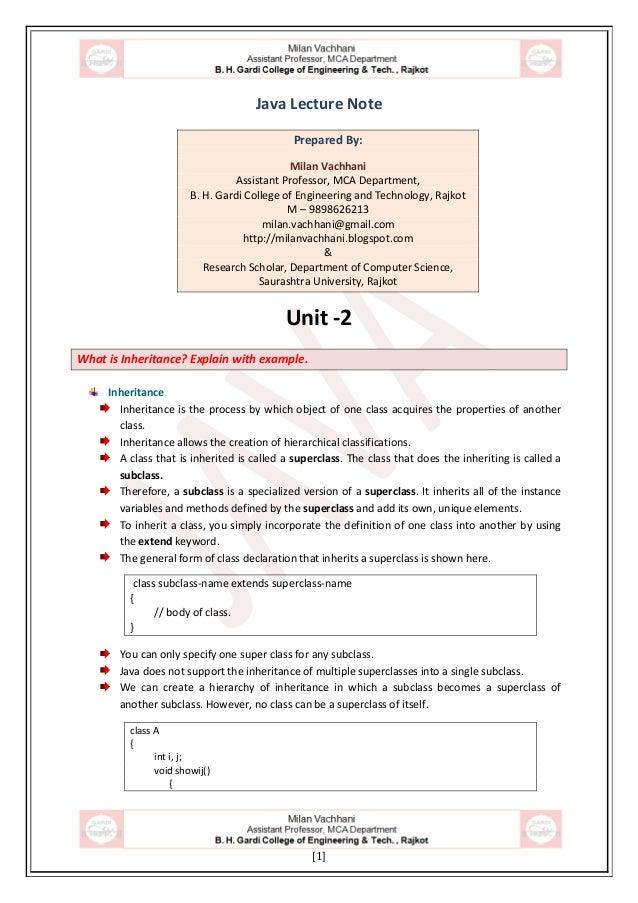 [1] Java Lecture Note Prepared By: Milan Vachhani Assistant Professor, MCA Department, B. H. Gardi College of Engineering ...