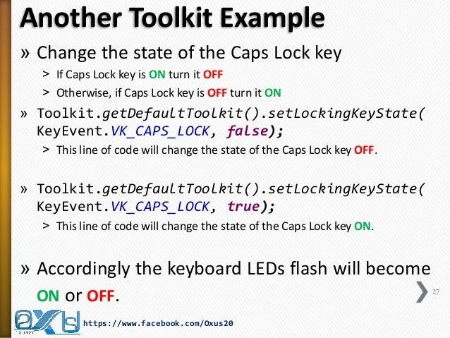 Java Virtual Keyboard Using Robot, Toolkit and JToggleButton Classes