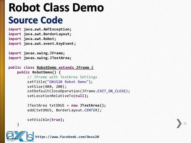 Java Virtual Keyboard Using Robot Toolkit And