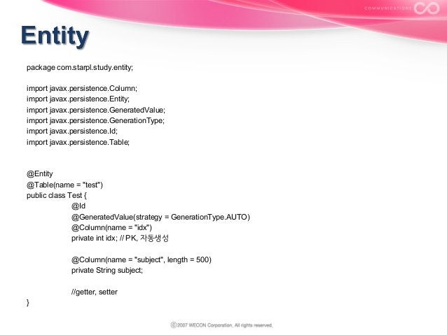 package com.starpl.study.entity; import javax.persistence.Column; import javax.persistence.Entity; import javax.persistenc...