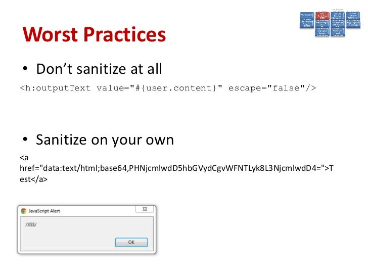Prevent• Sanitize the input• Escape/Quotesafe the input• Use Cookie flags:  – httpOnly (prevents XSS access)https://code.g...