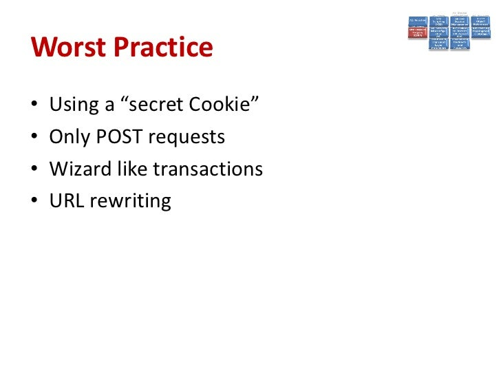 Best Practices• Add Unpredictability (tokens)• CSRFPreventionForm  http://blog.eisele.net/2011/02/preventing-csrf-with-jsf...