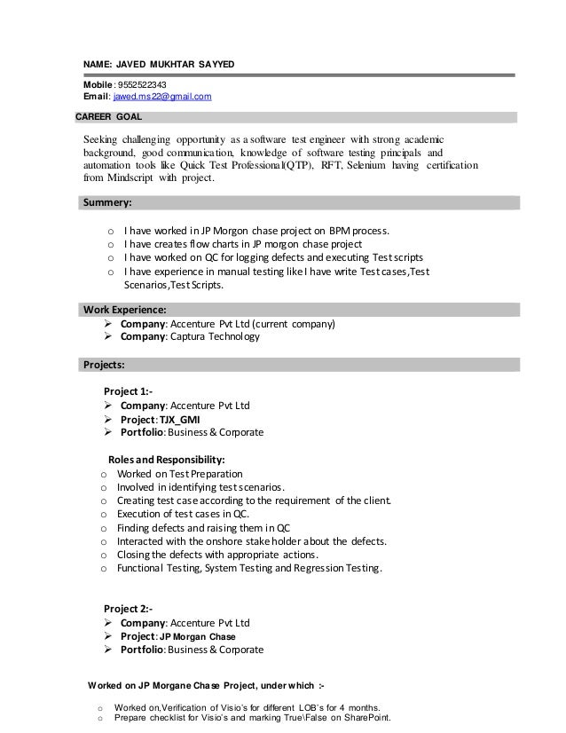 NAME: JAVED MUKHTAR SAYYED Mobile: 9552522343 Email: jawed.ms22@gmail.com CAREER GOAL Seeking challenging opportunity as a...