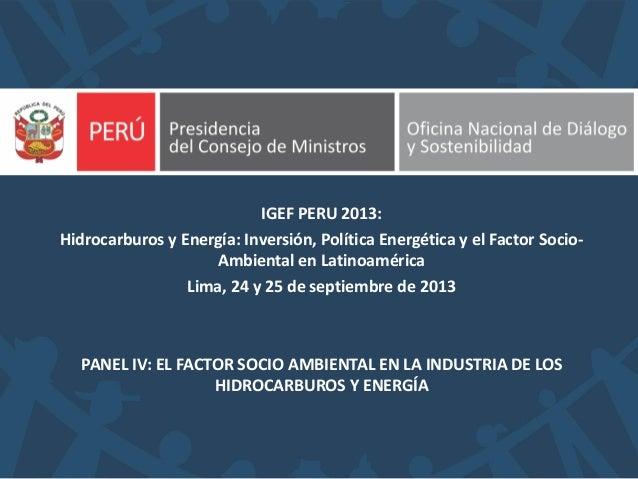 PANEL IV: EL FACTOR SOCIO AMBIENTAL EN LA INDUSTRIA DE LOS HIDROCARBUROS Y ENERGÍA IGEF PERU 2013: Hidrocarburos y Energía...
