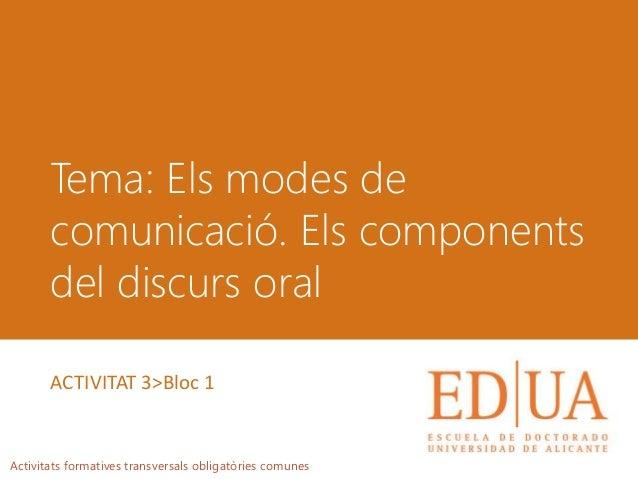 Tema: Els modes de comunicació. Els components del discurs oral Activitats formatives transversals obligatòries comunes AC...