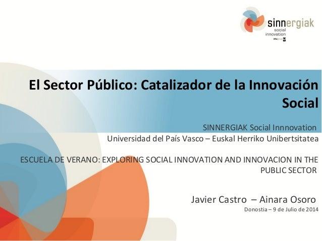 El Sector Público: Catalizador de la Innovación Social SINNERGIAK Social Innnovation Universidad del País Vasco – Euskal H...