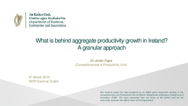 What is behind aggregate productivity growth in Ireland? A granular approach Dr Javier Papa (Competitiveness & Productivit...