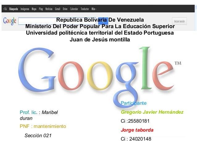 Republica Bolivaria De Venezuela  Ministerio Del Poder Popular Para La Educación Superior  Universidad politécnica territo...