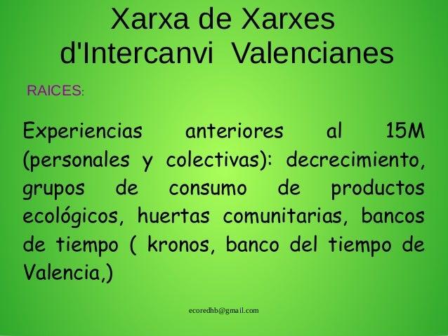 ecoredhb@gmail.com Xarxa de Xarxes d'Intercanvi Valencianes Experiencias anteriores al 15M (personales y colectivas): decr...