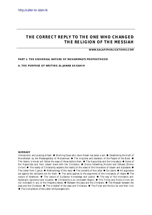 THE CORRECT REPLY TO THE ONE WHO CHANGED THE RELIGION OF THE MESSIAH WWW.SALAFIPUBLICATIONS.COM PART 1. THE UNIVERSAL NATU...