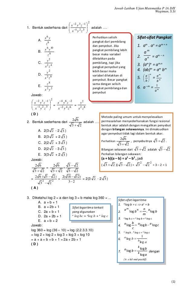 Soal Latihan Dan Pembahasan Un Matematika Smk 2017
