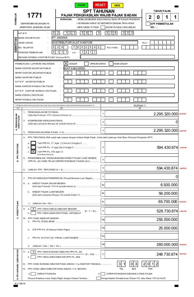Petunjuk Umum Pengisian Formulir Digital Spt 1711