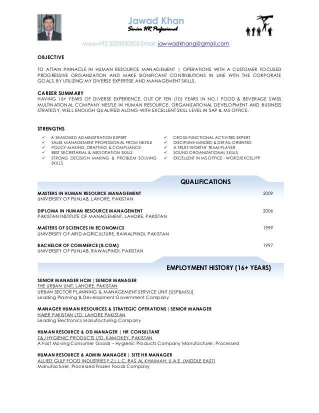 human resource manager cv