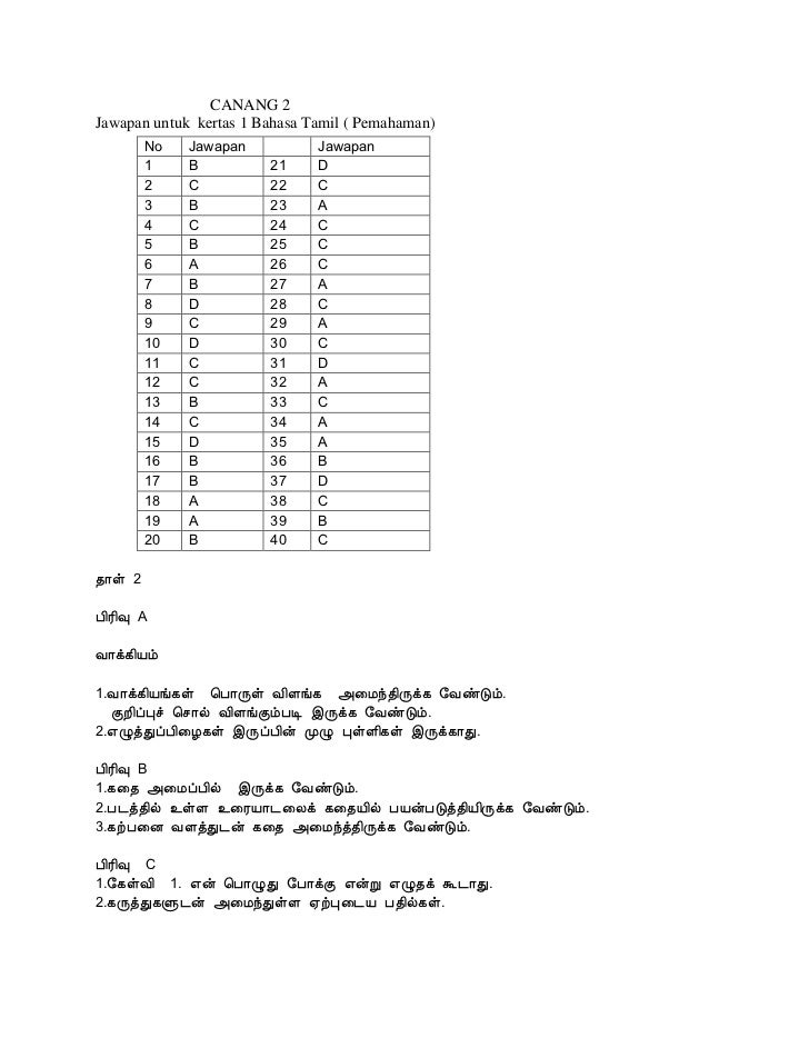 CANANG 2Jawapan untuk kertas 1 Bahasa Tamil ( Pemahaman)      No     Jawapan            Jawapan      1      B           21...