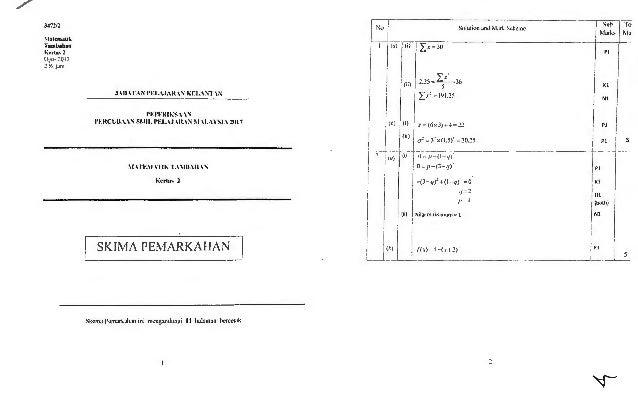 Add Maths Trial 2019 : Trial kedah 2014 spm add math k1 skema.