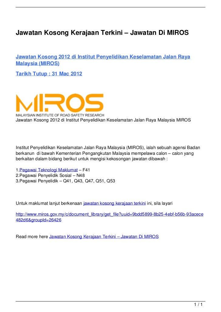 Jawatan Kosong Kerajaan Terkini – Jawatan Di MIROS                                   Jawatan Kosong 2012 di Institut Penye...