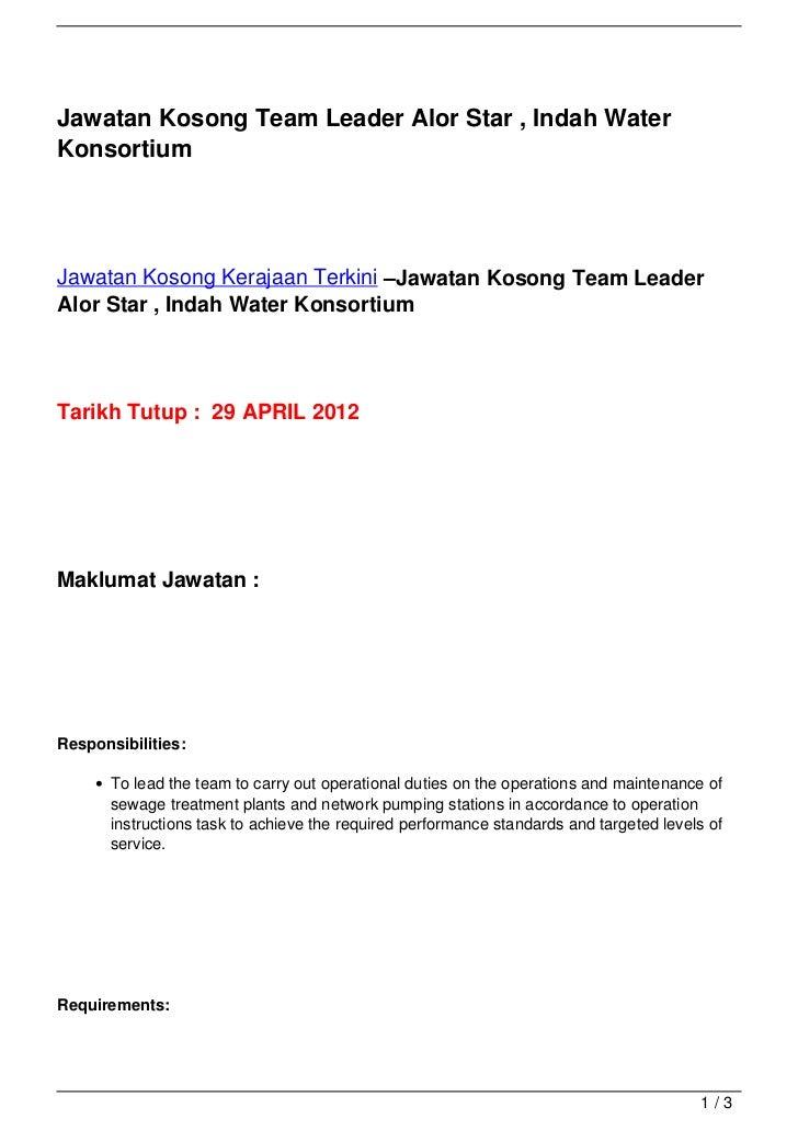 Jawatan Kosong Team Leader Alor Star , Indah WaterKonsortiumJawatan Kosong Kerajaan Terkini –Jawatan Kosong Team LeaderAlo...