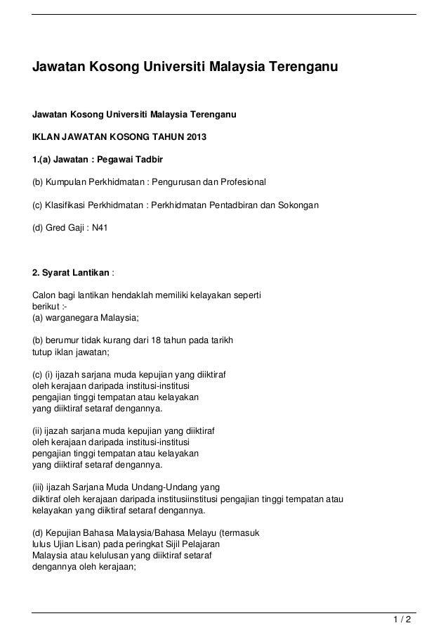 Jawatan Kosong Universiti Malaysia TerenganuJawatan Kosong Universiti Malaysia TerenganuIKLAN JAWATAN KOSONG TAHUN 20131.(...
