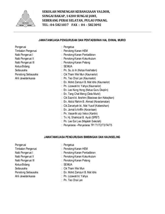 Jawatankuasa Pengurusan Hem Smk Valdor 2014