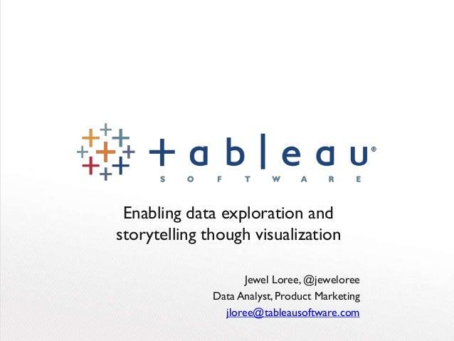 Enabling data exploration and storytelling though visualization Jewel Loree, @jeweloree Data Analyst, Product Marketing jl...
