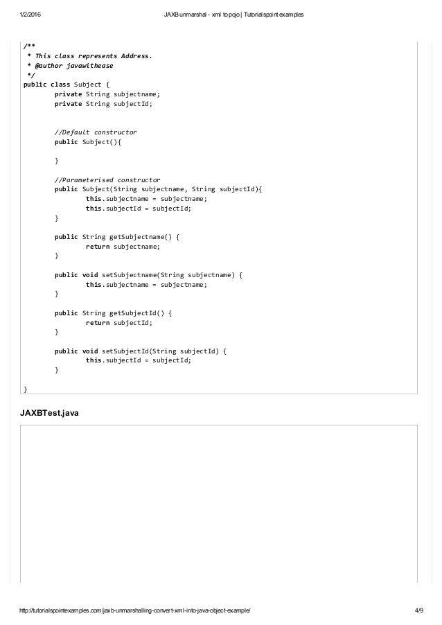 Jaxb unmarshal xml to pojo tutorialspoint examples