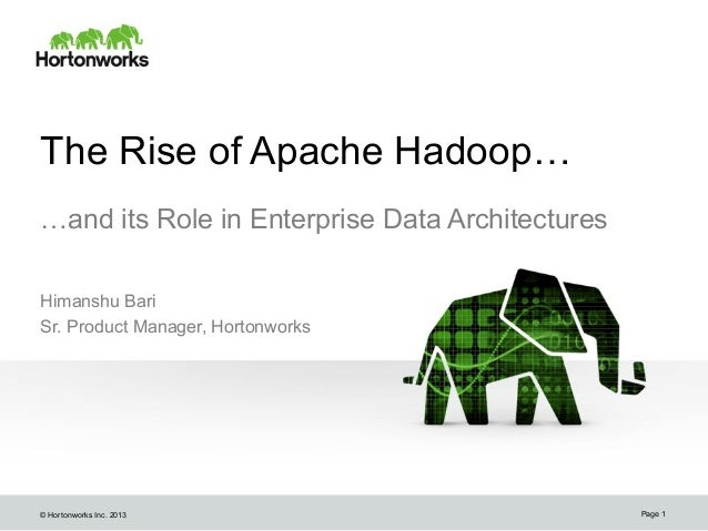 © Hortonworks Inc. 2013The Rise of Apache Hadoop……and its Role in Enterprise Data ArchitecturesHimanshu BariSr. Product Ma...