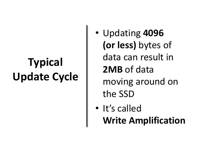 Typical  Update Cycle  • Updating 4096  (or less) bytes of  data can result in  2MB of data  moving around on  the SSD  • ...