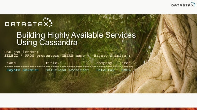 Building Highly Available Services Using Cassandra USE jax_london;! SELECT * FROM presenters WHERE name = 'Hayato Shimizu'...