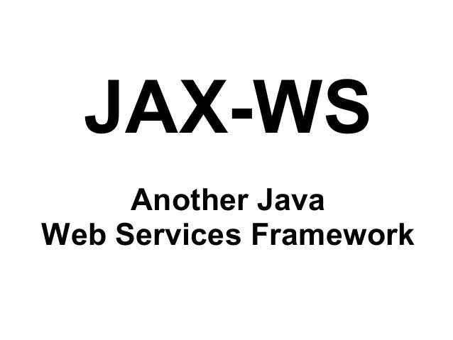 JAX-WS Basics