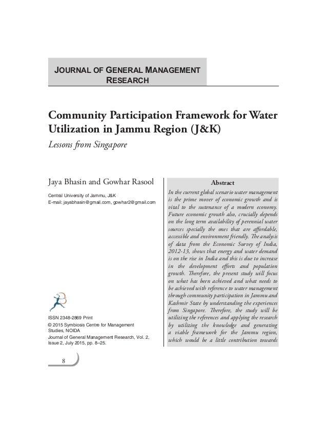 8 Journal of General Management Research Community Participation Framework for Water Utilization in Jammu Region (J&K) Les...