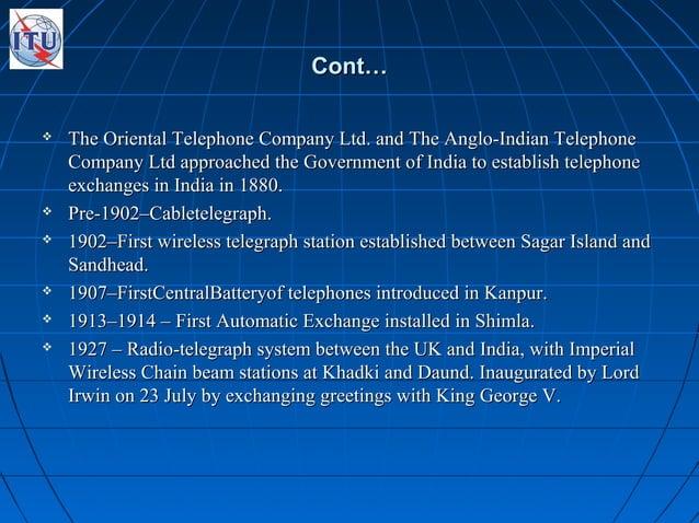 Cont…Cont…  The Oriental Telephone Company Ltd. and The Anglo-Indian TelephoneThe Oriental Telephone Company Ltd. and The...