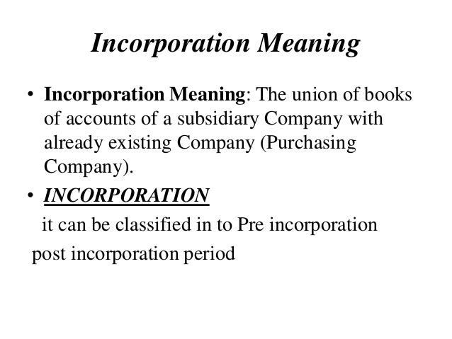 incorporation definition